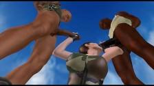 Un trío al aire libre con Lara Croft